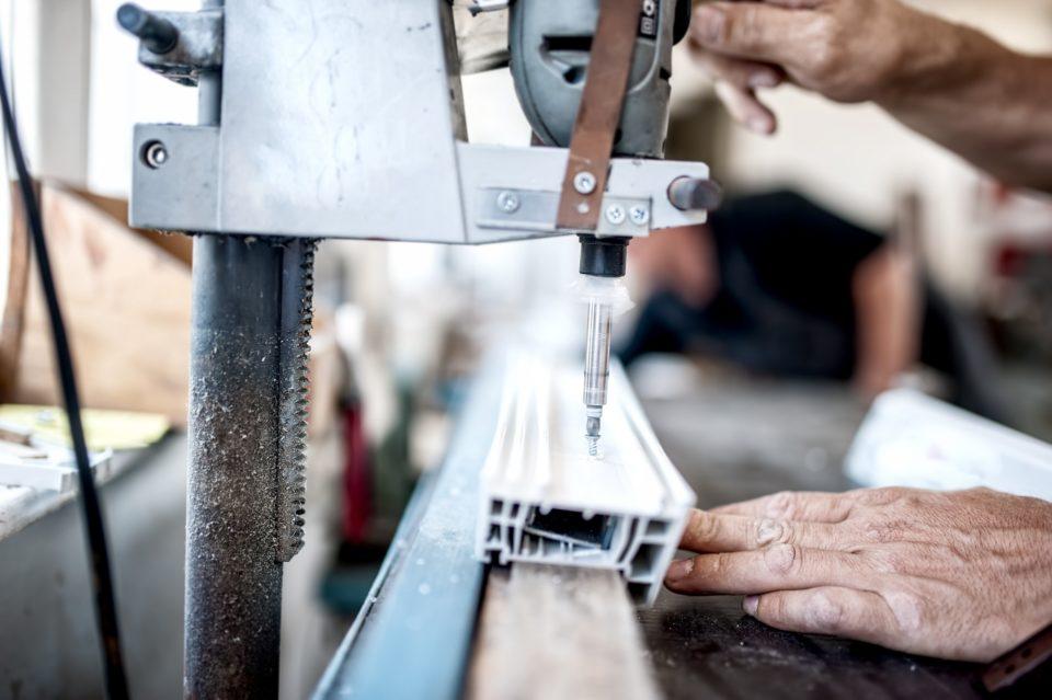 industrial metal and steel drilling tools in factory. Metal industry