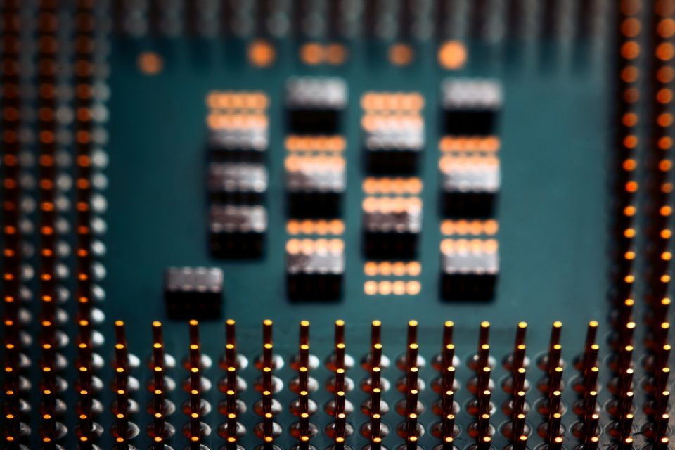 Bokeh electronic circuit close up computer