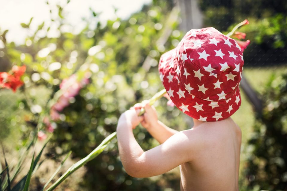 Rear view of small boy with a hat standing outdoors in garden in summer.