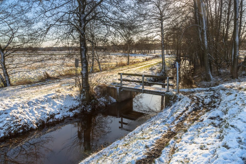 Dutch Winter landscape with light snow