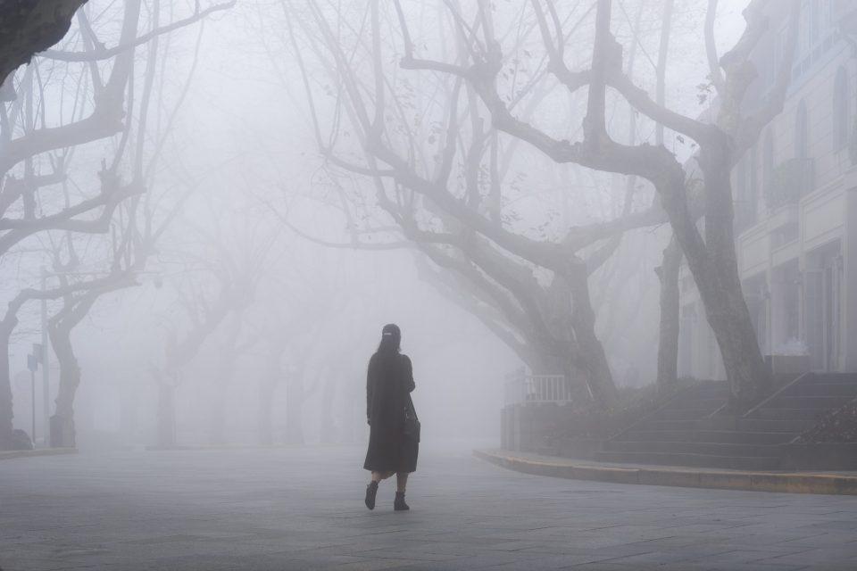 lushan mountain landscape of street in fog