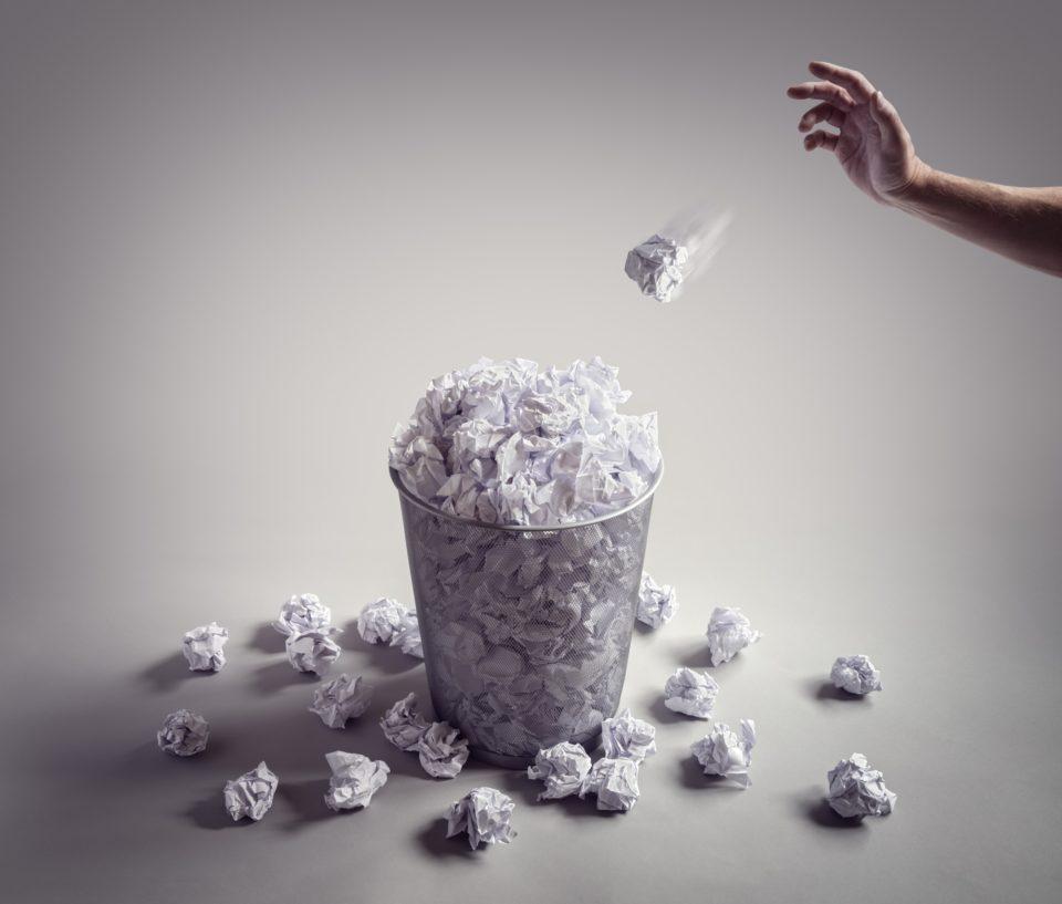 Throw it in the waste paper basket or office bin
