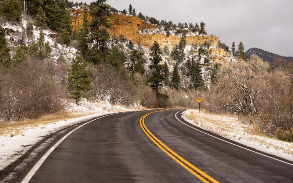 Icy Roadway Utah Territory Highway 89 Winter Travel