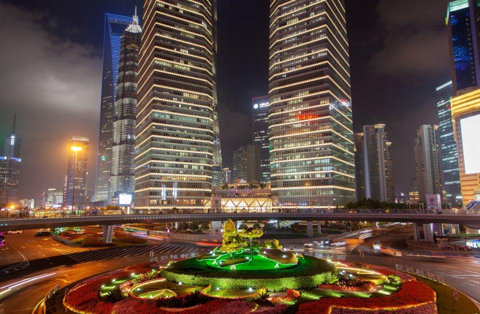 Shanghai buildings of Pudong at Lujiazui bridge