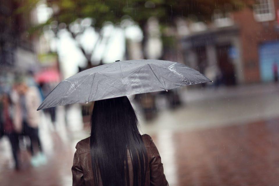 Rain on umbrella