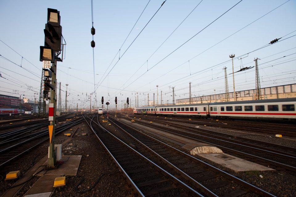 Signal in a German rail yard
