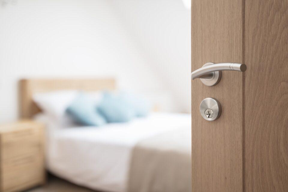 Hotel room or apartment doorway
