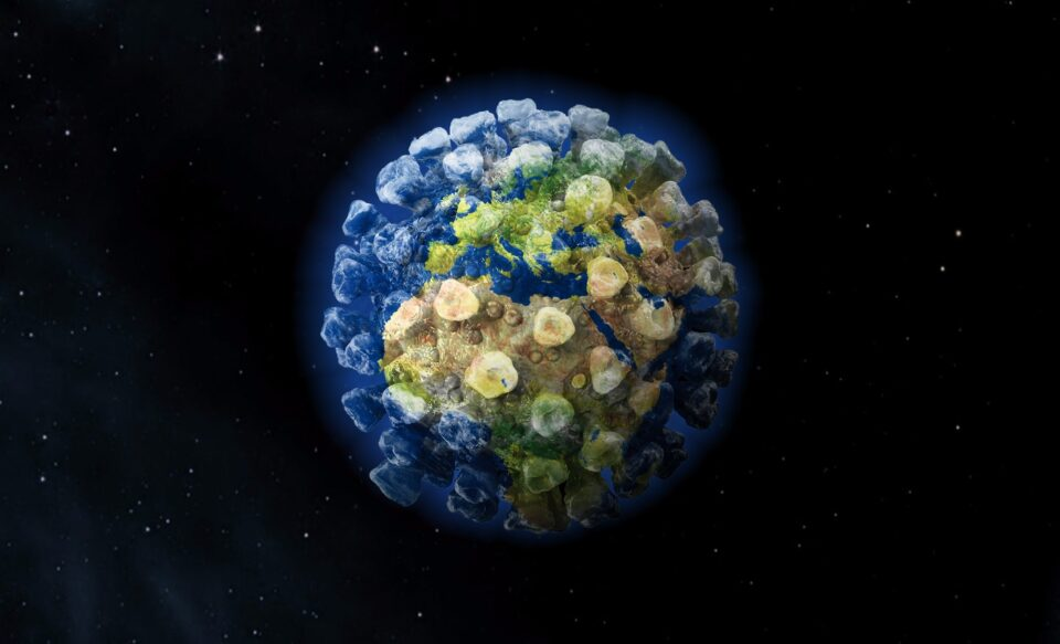 3d render of planet earth shaped as corona virus