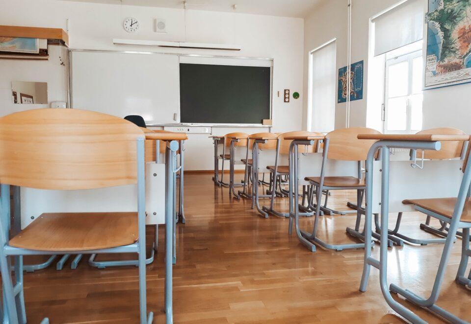 Empty classroom during corona virus lock down
