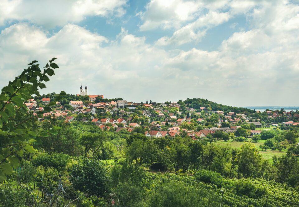 View over Tihany abbey and town on lake Balaton, Hungary