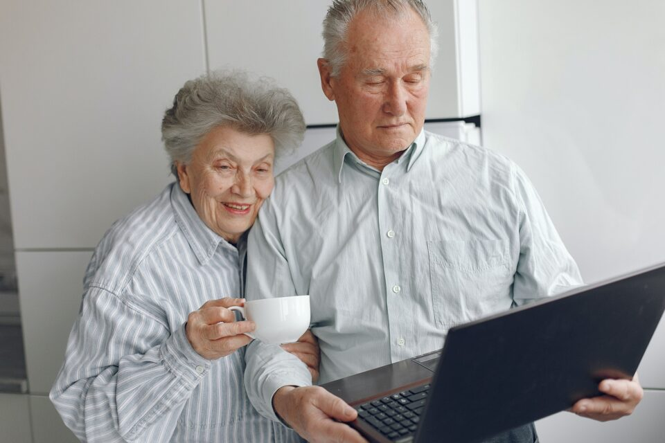 Elegant old couple at home using a laptop