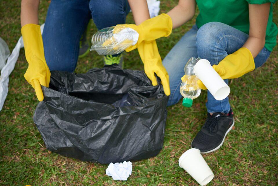 Black bin bag with household waste