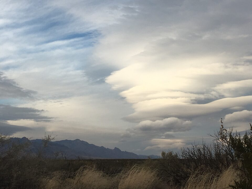 Lenticular Clouds view from home of clouds near the Organ mountains New Mexico. January 2017