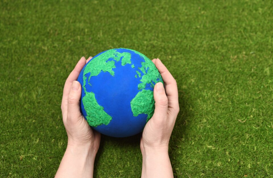 Hands with Earth planet
