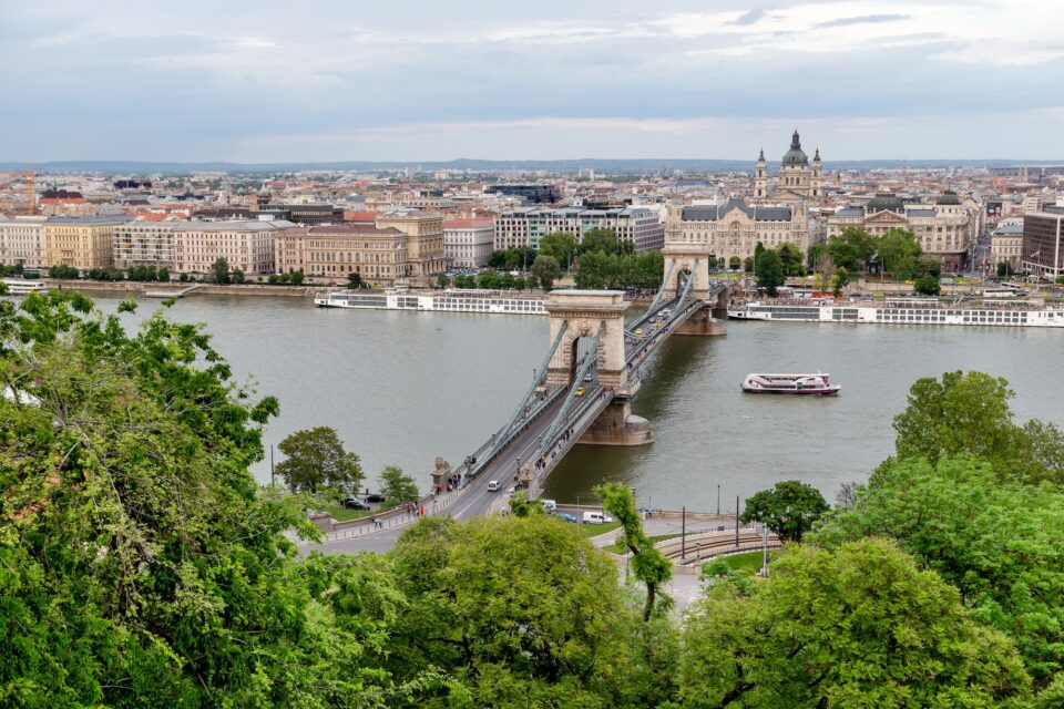 Panoramic view of Budapest and Danube river, Hungary. Tourism in Europe, travel concept.