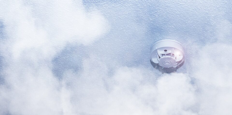 Smoke, fire detector. Fire protection, with smoke in the foreground.