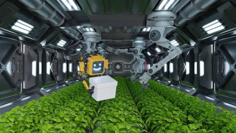 Robotic in agriculture futuristic concept.